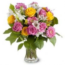 Wishing you Happiness: pink and yellow roses